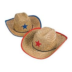 4ead2ec87bfca Fun Express Childs Straw Cowboy Hat with Plastic Star - 1... https