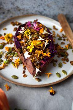 Breakfast sweet potato with hibiscus tea yoghurt and turmeric granola - Vegetarian Ventures