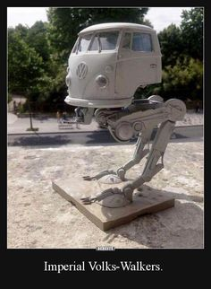 Imperial AT-ST Volkswagen! Star Wars Witze, Nave Star Wars, Star Wars Jokes, Star Wars Film, Battlestar Galactica, Geek Culture, Image Facebook, Cool Pictures, Funny Pictures