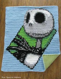 $270.00 on Etsy. Crocheted Jack Skellington blanket LINED white fleece CUSTOM,  ideal for stroller, Nightmare Before Christmas inspired, blanket for baby