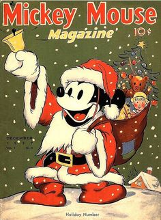 Vintage Mickey Mouse Christmas Book Premium - The Retroist Vintage Christmas Images, Retro Christmas, Vintage Holiday, Christmas Pictures, Christmas Art, Christmas Graphics, Xmas, Christmas Gifts, Christmas Cover