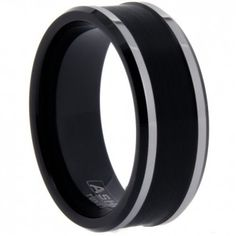 Wholesale Tungsten Ring. Style # WTG2870. Unique two-tone tungsten carved band features satin finished center and high polished edges and band.