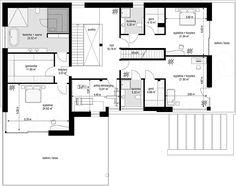 Projekt domu Willa Floryda 4 327,82 m2 - koszt budowy - EXTRADOM Storage Places, Modern House Design, House Plans, Floor Plans, How To Plan, Modern Home Design, House Floor Plans, Floor Plan Drawing, Contemporary Home Design