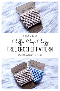 Free crochet pattern coffee cup cozy easy quick crochet puff stitch coffee sleeve printable template coffee display etsy packaging packaging ideas learn to sell sell on etsy hooked on tilly Crochet Coffee Cozy, Coffee Cup Cozy, Crochet Cozy, Free Crochet, Free Easy Crochet Patterns, Coffee Cozy Pattern, Puff Stitch Crochet, Crochet Scarves, Crochet Projects To Sell