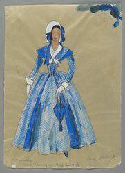Walter Plunkett Dragonwyk, Gene Tierney 1946 Brooklyn Museum: Fashion and Costume Sketch Collection.