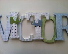 letras de madera para cuarto de nios azul verde por
