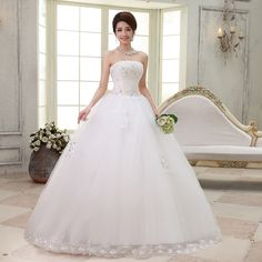 Find More Wedding Dresses Information about 2015 new hot sale sexy backless elegant  beach sweetheart  waist Bra lace plus size white wedding dress strapless,High Quality lace veil,China dress exotic Suppliers, Cheap lace plus size wedding dress from Playful beauty department store on Aliexpress.com