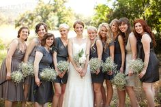 mix matched gray bridesmaid dresses - great for all shapes!