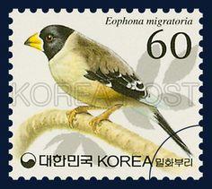 Definitive Postage Stamp (60 won), Chinese Grosbeak, Bird, Brown, Ivory, 2002 3…