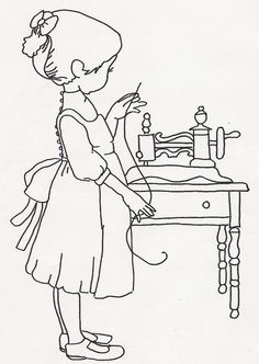 Girl with Hand Crank Sewing Machine