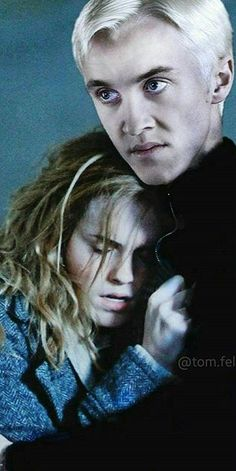"Dramione. I love this. She's hurt and his look is one of revenge. ""You hurt my girl, I hurt you"""