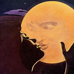Rifling through 1960s records for use in my Etsy shop, found this brilliant duo's album art. Amazing. - ferranteand teicher ferrante teicher moon kiss the moon kiss illustration 1960s woman man in the moon