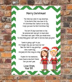 Elf Goodbye Letter Instant Download by CandeeGraphicDesign
