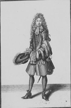 Gentleman, he is wearing a narrow but tall and long periwig, reaching down low in his back. Ribbon bows underneath the lace cravat. His justaucorps, decorated on all seams with lace, is closed in the waist with only one button. Two vertical pockets. The coat and the waistcoat underneath reaching down to his knees. The coat sleeves have broad turned back cuffs, reaching to the elbows, the waistcoat narrow sleeves reaching to the wrists, 1689.