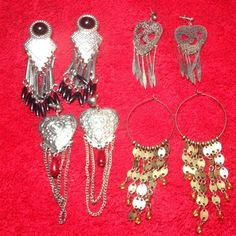 """Set of 4 earrings Set of 4 pairs of earrings. All a little long. Measures 2 1/2-4""""L. Price is for all. No trades Jewelry Earrings"""