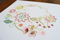 Sylvan Garland A wreath of woodland flowers and leaves in embroidery and appliqué  The design measures 14½ x 14½ inches (37 x 37cm).  This is a 21-page hand embroidery pattern in PDF format, which will be made available as a digital download from your Etsy Purchases as soon as payment has cleared. The pattern includes: Fabric, needle and thread requirements: A list of the types of fabric, DMC six-stranded cotton thread colours and the required needle types and sizes for the embroidery…