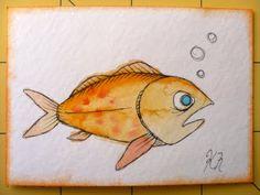 Oops, I Craft My Pants Watercolor Fish, Watercolor Ideas, Pet Rocks, Ocean Life, Rock Painting, Painted Rocks, Pikachu, Art Ideas, Swim