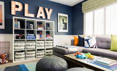 We're sharing this colorful playroom designed by J&J Design Group. Their signature style will knock your socks off as will the adorable art nook.