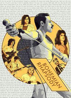 BOHAMIAN RHAPSODY DESIGN 1 Bryan Singer, Tigger, Musicals, Bates Motel, Movie Posters, Bohemian, Queen, Design, Art