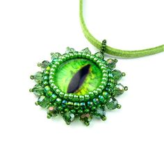 Lizard Green Eye Pendant Beadwoven Glass Eyeball by TheCrimsonMoon, £20.00