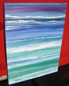 Neverending Sea - Original Abstract Acrylic Painting Gallery Canvas Waves Ocean - 18 x 24 on Etsy, $100.00