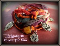 IndigoEarth~ Follow The Sun~ Leather and Silk Wrap Bracelet | IndigoEarth - Jewelry on ArtFire
