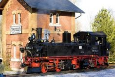 steam locomotive, Steinbach - Jöhstadt, Germany Stock Photo