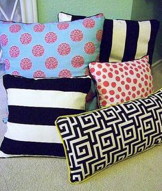 Sometimes decorative pillows can be too expensive to purchase when living on a college budget. This website shows you how to make your own throw pillows to spruce up your living room! @ DIY Home Cuteness