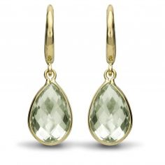Kiki Classic Green Amethyst Pear Drop Earrings -- same as Citrine except different gemstone