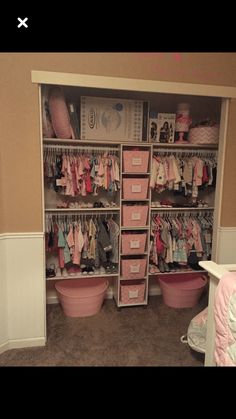 Shared girls closet / toddler and baby. Shared girls closet / toddler and baby - Kids Room Ideas. Shared girls closet / toddler and baby Baby Bedroom, Nursery Room, Girl Nursery, Girls Bedroom, Nursery Ideas, Baby Girl Bedroom Ideas, Baby Rooms, Kids Rooms, Girl Room Decor