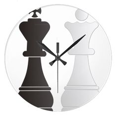 Black king white queen chess pieces large clock