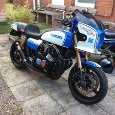 Just sitting on it when idling was intimidating. Suzuki Gsx 750, Suzuki Bikes, Suzuki Cafe Racer, Suzuki Motorcycle, Motorcycle Design, Honda Motorcycles, Triumph Bobber, Cafe Racers, Custom Street Bikes