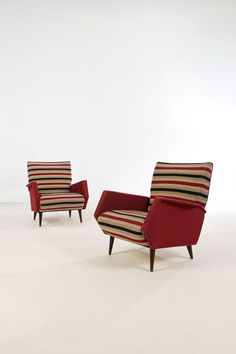 Gio Ponti; Armchairs, 1950s. (chair, furniture, home, decor, mcm, retro, modern, midcentury, design)