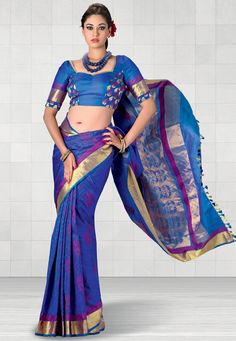 Dark Blue Pure Kanchipuram Handloom Silk Saree With Blouse Online Shopping: SHP129