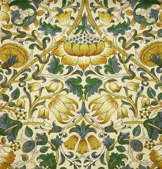 Lodden Fabric A beautiful fabric of scrolling flowers and foliage in manilla and bay leaf.