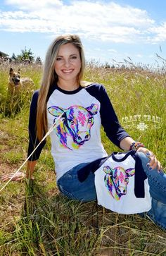 Crazy Train Neon Young Gun Cow Baseball Tee
