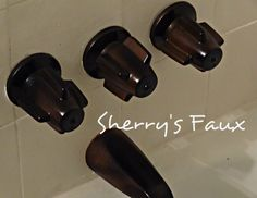 Decorating with CENTS: Spray Paint Bath Faucets