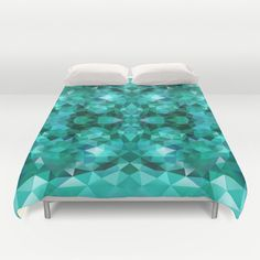 Duvet, Duvet Cover, King Size, Bed cover, King Duvet, Queen Duvet, Art Duvet, Art, Triangle, Green, Emerald, Polygon, Geometric, Pattern