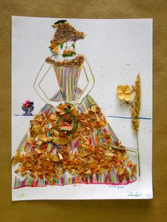 Colored Pencil Shavings Drawing Women with a Staff or flowers
