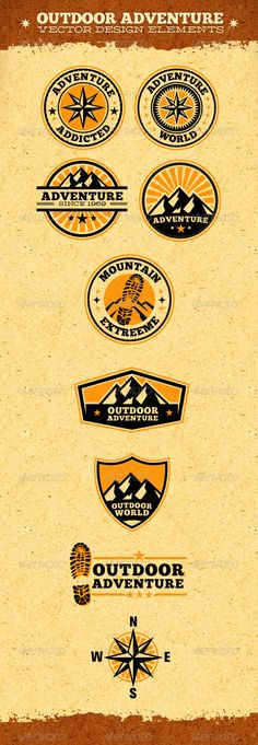Outdoor Adventure Vector Design Elements — Photoshop PSD #climbing #mountain • Available here → https://graphicriver.net/item/outdoor-adventure-vector-design-elements/1873825?ref=pxcr