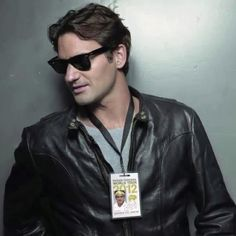 Roger Federer: Ray Bans and leather for Credit Suisse campaign.