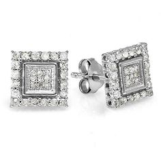 Elora Sterling Silver 1/2ct TDW Diamond Square Earrings ($99) ❤ liked on Polyvore featuring jewelry, earrings, white, screw back earrings, white earrings, long diamond earrings, square stud earrings and round diamond earrings