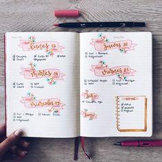 bullet journal weekly spread colorful