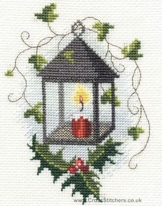 christmas cross stitch patterns | Christmas - Lantern Christmas Greetings Card…