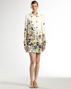 $2900 Flora Infinity Double-Breasted Trench Coat by Gucci at Neiman Marcus. Sort of like a grandma couch but spring it would be fun and floral