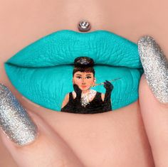Breakfast at Tiffanys lip art by Jazmina Daniel, an Aussie makeup artist and cancer survivor, plays off of popular culture as well as beauty and color trends.