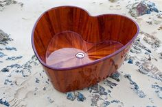Heart shaped handmade wooden bath