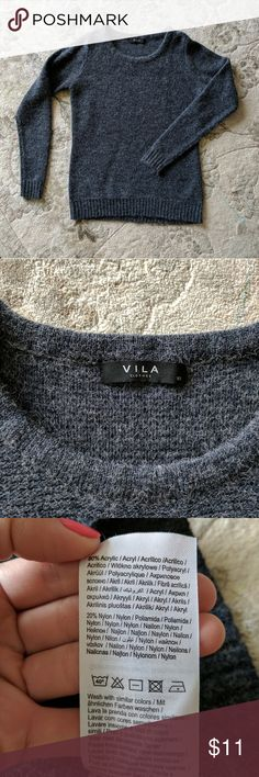 Vila sweater (from ASOS) Villa Viriva Rib top (from ASOS)  Looks super cool with a pair of dark blue jeans  Color is navy, but has some gray accent  Worn twice, washed once, hang to dry ASOS Sweaters Crew & Scoop Necks