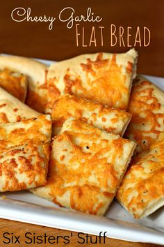 Cheesy Garlic Flat Bread from SixSistersStuff.com. It doesnt get any easier than this! #appetizer #bread