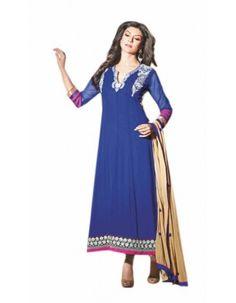 Blue Violet Sushmita Sen Georgette Anarkali Suit Rs.2,500
